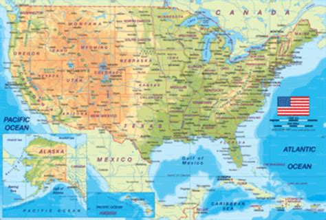 Map of USA physically - Map in the Atlas of the World