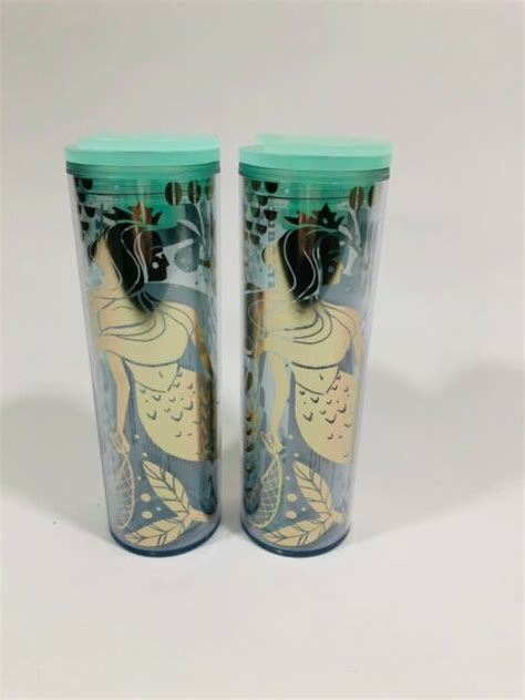 2 Starbucks 2020 Gold Mermaid Siren Clear Acrylic Cold Cup