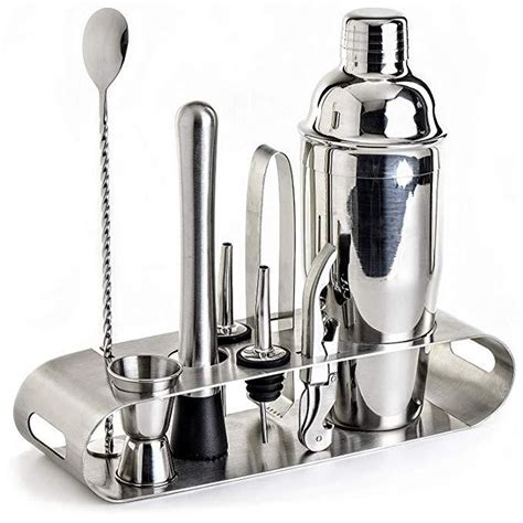 9-Piece Cocktail Shaker Set with Stylish Stainless steel