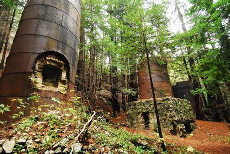 The rusty lime kilns at the end of the trail where the