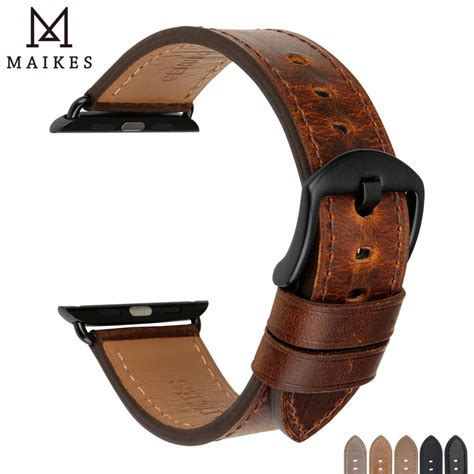 MAIKES Watch Accessories Genuine Leather For Apple Watch