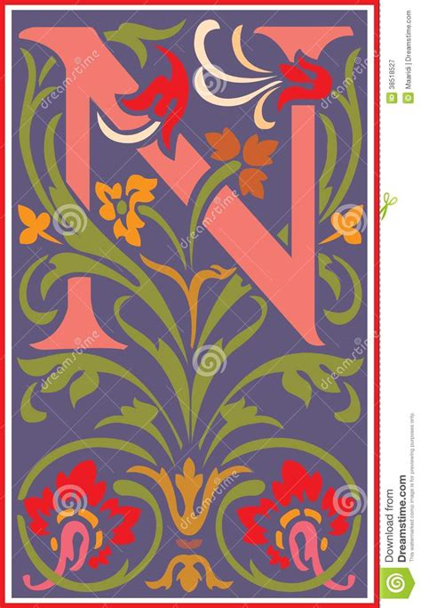 Flowers Decorative Letter N In Color Stock Vector - Image
