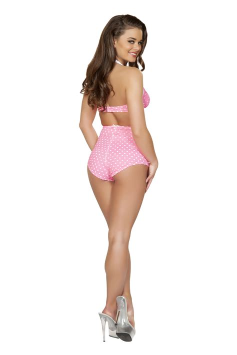 Adult Sexy Pin Up Halter Pink And White Women Top   $21