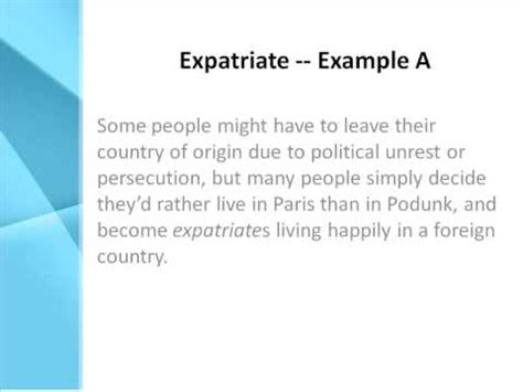 Expatriate Definition - What Does Expatriate Mean? - YouTube