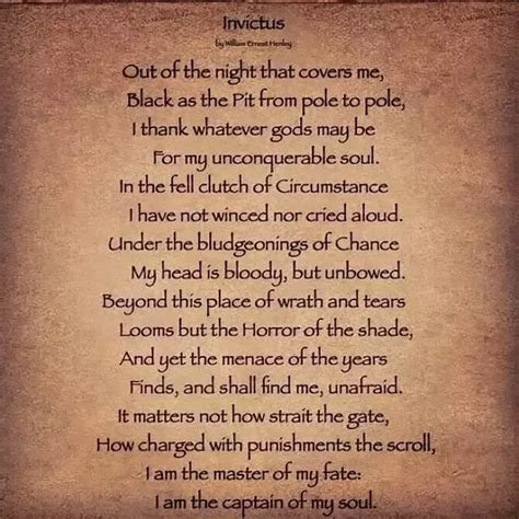 What makes the poem 'Invictus' by William Ernest Henley so